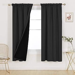 Deconovo Rod Pocket Total Blackout Curtain 100% Percent, 72 Inch Long Living Room Full Light Blocking Window Drapes, Solid...
