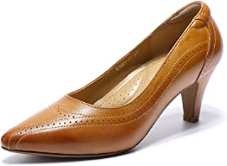 Women's Leather Pump Med Heel Pointed Toe Office Dress Shoes for Ladies