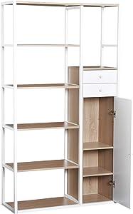 homcom Libreria Moderna 6 Ripiani 2 Cassetti Armadietto con Anta Soggiorno, Ufficio, Casa, Legno 100x35x180cm