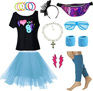 80s Girl Teenage 10-18 T-Shirt Fancy Dress Costume Accessories w/Fanny Pack Bag