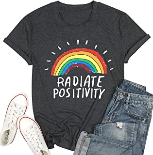 UNIQUEONE Women Radiate Positivity Rainbow T-Shirt Funny Letter Printed Rainbow Graphic Tee Summer Short Sleeve Shirts Tops Tee