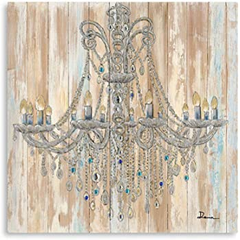 """B BLINGBLING Chandelier Painting on Canvas Art: Vintage Crystal Chandelier Wall Decor Canvas Bright Color for Living Room with Frame Easy Hanging (24""""x24""""x1 Panel)"""