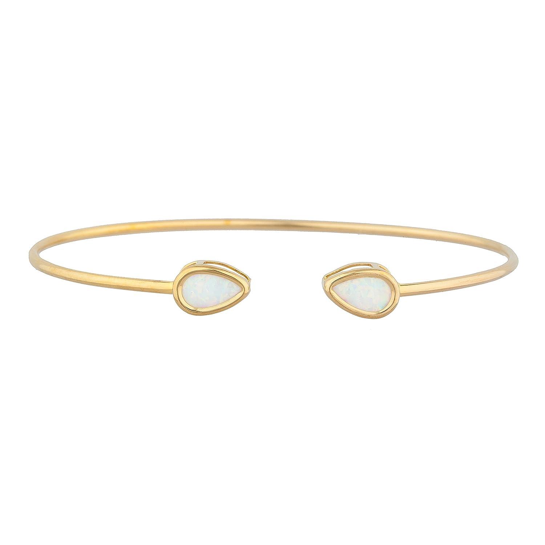 14Kt Milwaukee Mall Gold Simulated Opal Max 56% OFF Bracelet Bangle Pear Bezel