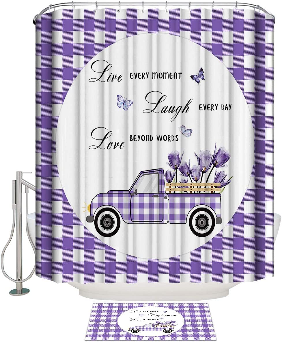 BABE MAPS Farm Flowers Shower Curtain Pcs 2 Bathroom Cash special price sold out Set In
