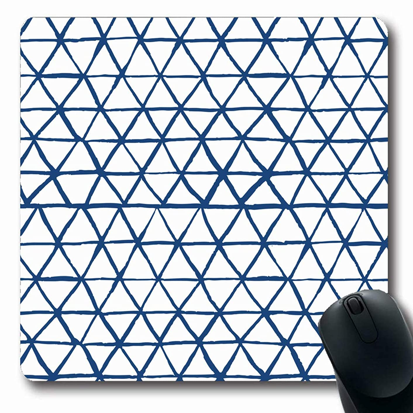 Ahawoso Mousepads Organic Watercolor Geo Shibori Indigo Triangles Geometrical Indonesian Abstract Pattern Hippie Oblong Shape 7.9 x 9.5 Inches Non-Slip Gaming Mouse Pad Rubber Oblong Mat