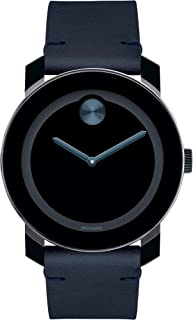 Movado Bold, Tr90 Stainless Steel Case, Blue Dial, Dark Navy Leather Strap, Black, Men, 3600601