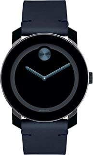 Bold, Tr90 Stainless Steel Case, Blue Dial, Dark Navy Leather Strap, Black, Men, 3600601