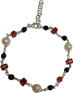 Bracciale mod rosario perle corallo argento