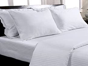 Trance Home Linen Cotton 400 Tc Elasticated Fitted Bedsheet with Pillow Covers (White, King Size)
