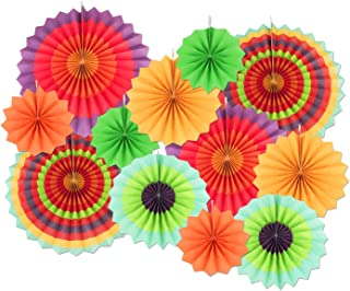 Colorful Paper Fans Decoration 12 PCS,Hanging Paper Fans Decoration for Wedding Birthday Party,Cinco De Mayo Carnival Mexican Kids Party