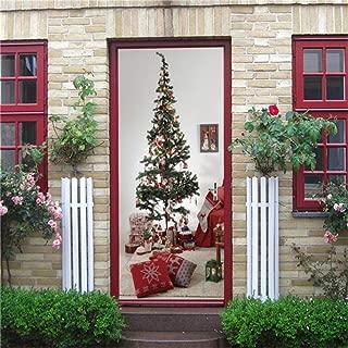 Heat Control Privacy Window Film Glass Stickers,Christmas Tree Festival Stickers on the Doors DIY Self Adhesive Wallpaper Murals Door Living Room Kids Room Decor Street Decals ( 15