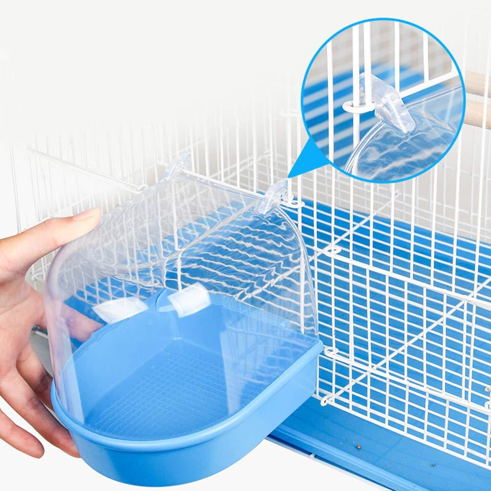 Azul Claro POPETPOP Ba/ñera de Loros Ba/ño de Aves enjaulado Ba/ño de Aves de Jaula m/últiple Cubierto de 13,5 x 13 x 12,5 cm para peque/ños brids Canicos Loros Canarios