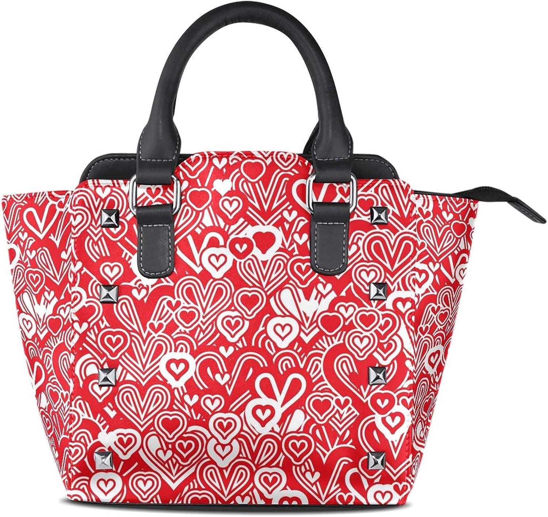 My Little Nest Women's Top Handle Satchel Handbag Valentine's Day Heart Ladies PU Leather Shoulder Bag Crossbody Bag