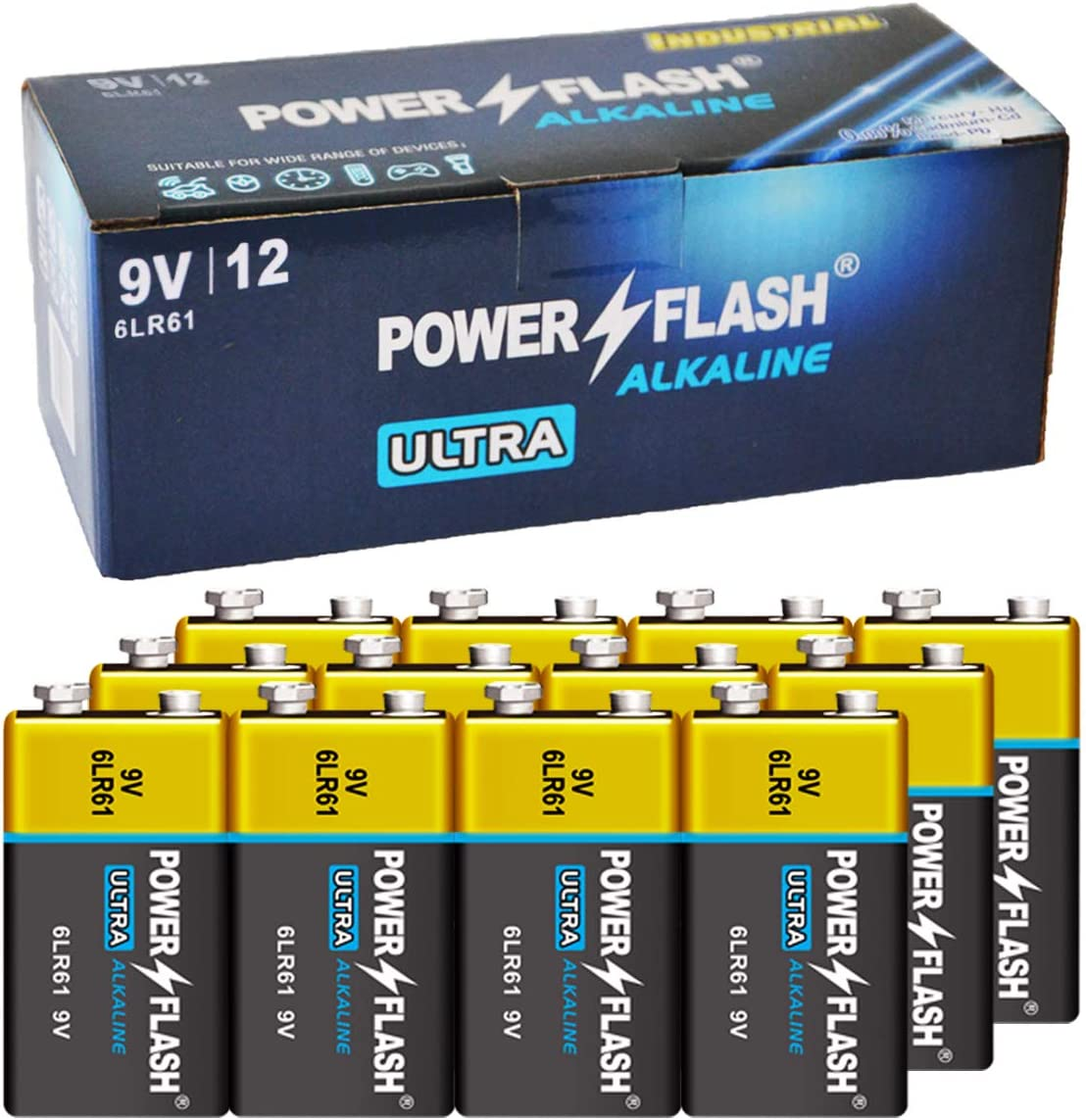 POWER FLASH 9V Batteries with Fresh Industrial - sold out 12 Pack Date Sale SALE% OFF