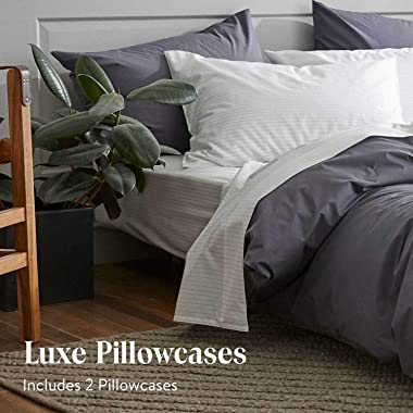 Brooklinen Luxe Pillow Cases Standard Size, Solid White - Set of 2 (100% Long Staple Cotton with Envelope Enclosure)