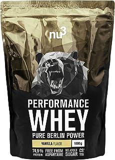 nu3 Performance Whey Protein | 1kg de suero en polvo sabor vainilla con 74.9% de proteína | Con aminoácidos BCAAs + proteína isolada (isolate) | Batido proteico para ganar masa | Altamente soluble