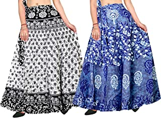 Silver Organisation Printed Long Full Length Bobbin Skirt for Women (Multicolor,) Combo Pack of 2 Peice
