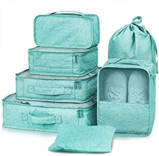 7 Set Packing Cubes Travel Luggage Packing Organizers Set with Laundry Bag Lightweight Luggage Accessories Toiletry Bag