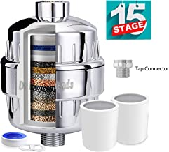 Dr Recommends Shower Filter & Tap Filter 15 Stage ABS with Vitamin C for Hard Water Treatment - 2 Cartridges - High Output Shower Water Filter to Remove Chlorine Fluoride  Plastic Chrome Finish