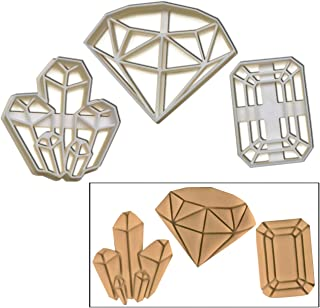 SET of 3 precious stone cookie cutters (Diamond, Crystal, Gemstone), 3 pc, Ideal as glamorous party snacks for wedding or engagement parties