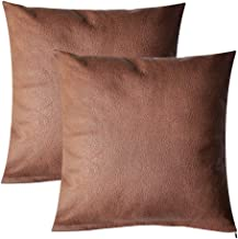 Best PANDICORN Set of 2 Brown Faux Leather Pillow Covers for Rustic Home Décor,Modern Farmhouse Accent Cognac Decorative Throw Pillow Cases for Couch Sofa Living Room, 18x18 Inch Review