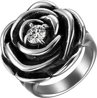 JewelryWe Anello da Donna di Acciaio Inossidabile,Forma di Rosa con Diamante, Colore Argento