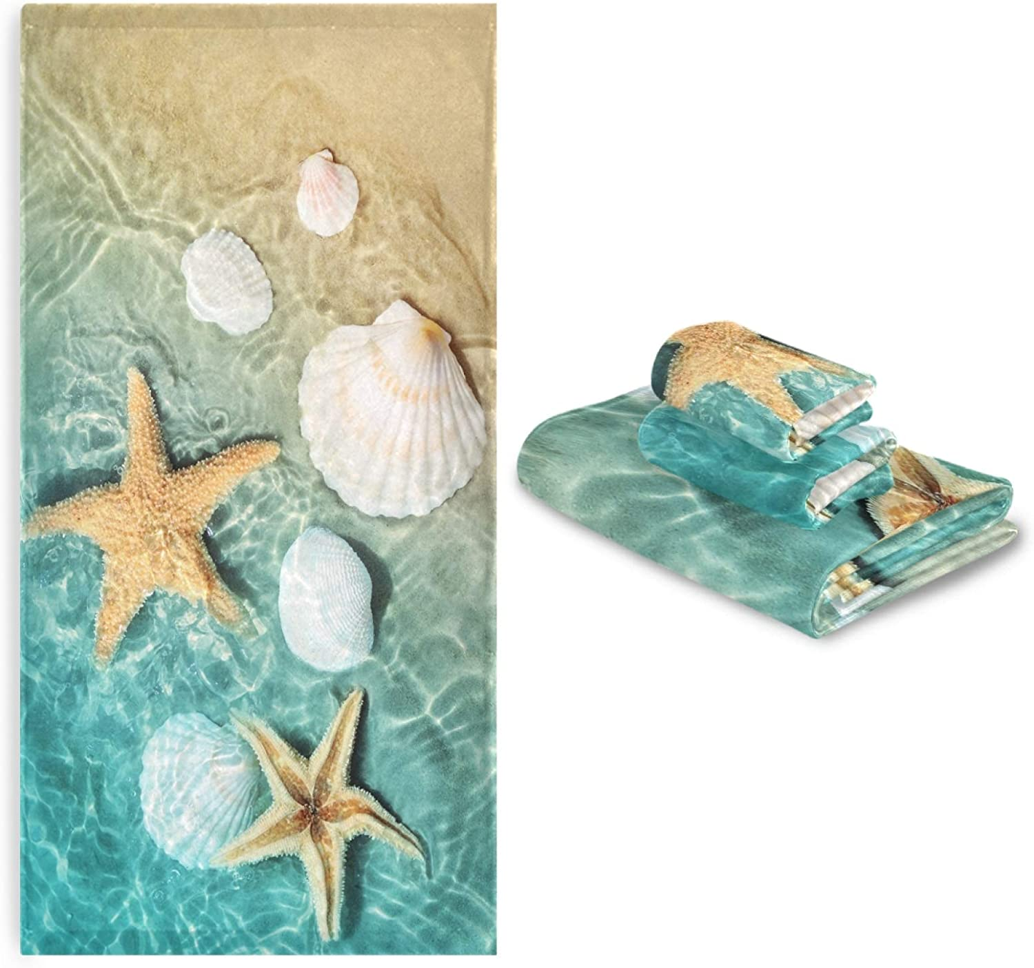 Summer Beach Cash special price Ocean Bath Towels Set Starfishs Recommended Sea 3 Seashells of