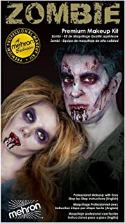 Special Effects Premium Zombie Apocalypse Makeup Kit By Mehron - Halloween SFX Make Up - Bruise Ring, Blood Gel, Flesh Liq...