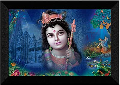 SAF Krishna Ji UV Textured Home Decorative Gift Item Synthetic Frame Painting SANFK31261