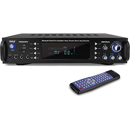 4-Channel Bluetooth Home Power Amplifier - 2000 Watt Audio Stereo Receiver w/Speaker Selector, AM FM Radio, USB/SD Card Reader, Karaoke Microphone Input - Home Entertainment System - Pyle P2203ABTU