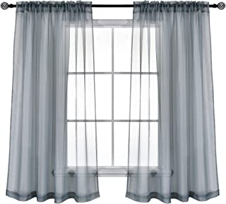 KEQIAOSUOCAI Grey Sheer Panels Curtains Set of 2 with 3 Inch Rod Pocket Sheer Gray Window Drapes 45 Inches Long for Bathroom Basement Kithcen