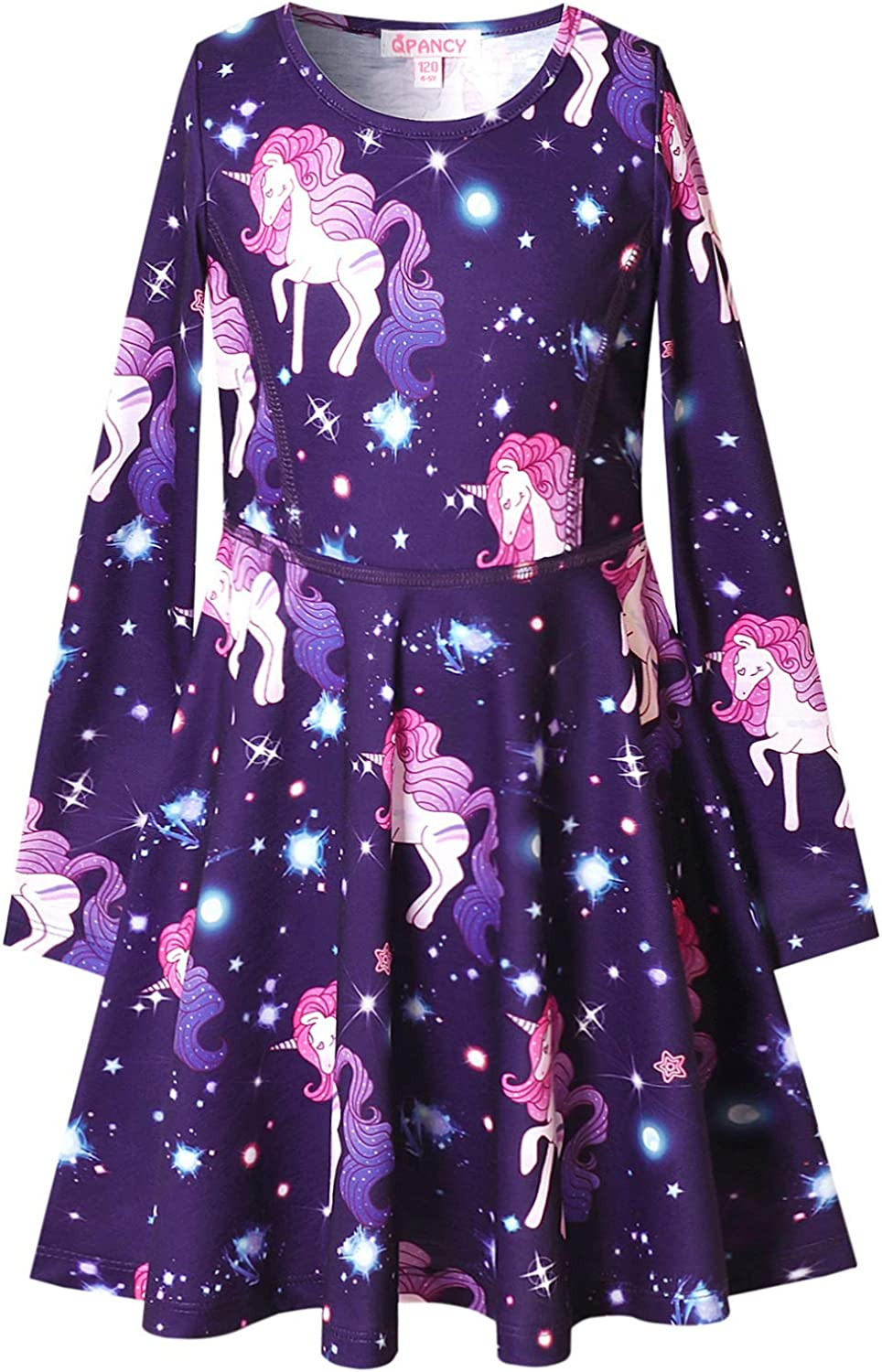 QPANCY Girls Long Sleeve Dresses for Kids Fall Winter Clothes Birthdayt Party Gifts