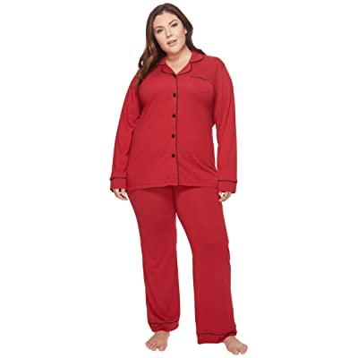 Cosabella Plus Size Bella PJ Long Sleeve Top and Pants PJ Set (Brick Red/Black) Women