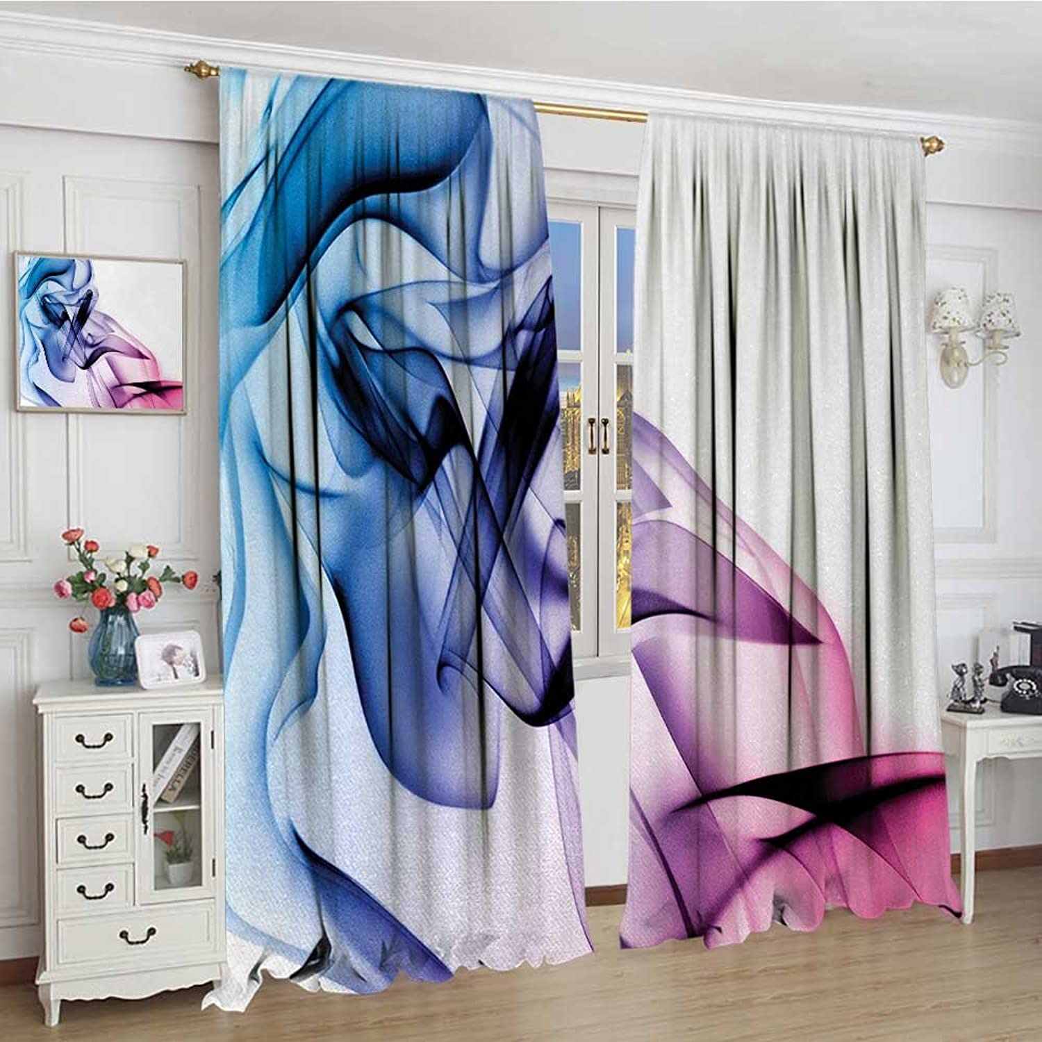 Smallbeefly Abstract Thermal Insulating Blackout Curtain Abstract Artwork with colorful Smoke Dynamic Flow Swirl Contemporary Artwork Decorative Curtains for Living Room 96 x96  Fuchsia bluee