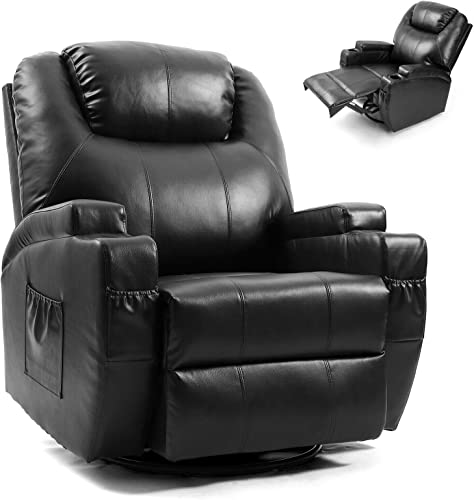 wholesale Artist Hand Electric Massage Recliner Lounge Leather Chair with new arrival 8 online sale Point Massage Waist Heated & 2 Cup Holder 3 Pockets for Living Room Bedroom Reading Theater Sofa outlet sale