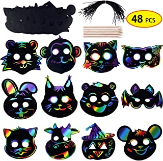INFLORAL 48 Pcs 12 Style Magic Scratch Rainbow Paper Animal Masks with Wooden Styluses and Elastic Ropes DIY Gift for Kids Birthday Party Halloween Dress-Up
