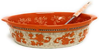 Temp-tations Basketweave 3.0 Qt Oval Baker w/Tab Handles and Serving Spoon (Floral Lace Spice)