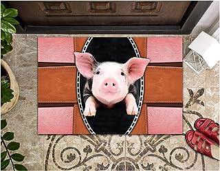 LIFESELAZ Pig Hair Leather Metal Door Mat Welcome Hello Entrance Indoor Outdoor Non-Slip Rubber Doormat (Pink, L (23.62'' ...