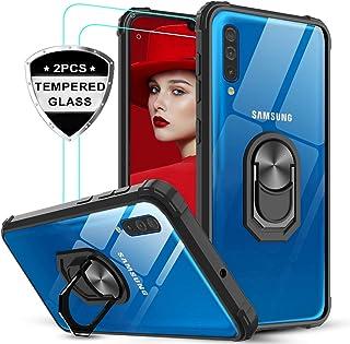 LeYi Funda Samsung Galaxy A70 / A70s con [2-Unidades] Cristal Vidrio Templado,Transparente Carcasa con 360 Grados iman Soporte Silicona Bumper Antigolpes Armor Case para Movil A70,Clear Negro