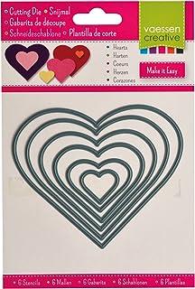 Vaessen creative 3624-008 Pochoirs Emporte-Pièces Cœurs pour Découpeuse, Métal, Gris, 11,5 x 9,6 x 0,1 cm