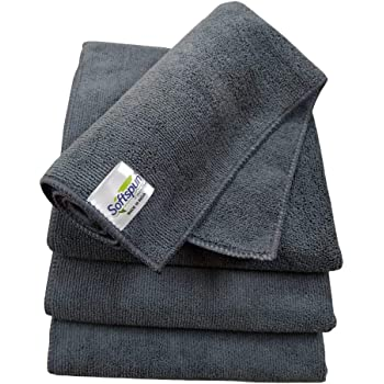 SOFTSPUN Microfiber Cloth - 4 pcs - 40x40 cms - 340 GSM Grey- Thick Lint & Streak-Free Multipurpose Cloths - Automotive Microfibre Towels for Car Bike Cleaning Polishing Washing & Detailing