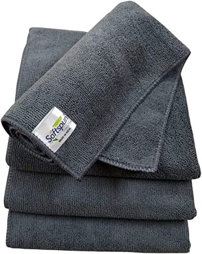 SOFTSPUN Microfiber Cloth - 4 pcs - 40x40 cms - 340 GSM Grey- Thick Lint & Streak-Free Multipurpose Cloths - Automoti...