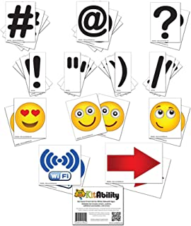 KitAbility Get Social 4 Inch Set for White Message Board Sidewalk Signs, Includes Emoji, Symbols, Additional Punctuation, and Arrows