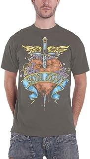 Bon Jovi T Shirt Heart & Dagger Band Logo 新しい 公式 メンズ グレー