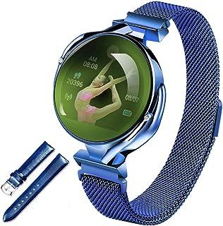 LTLJX Redondo Deportivo Reloj Fitness, Mujer Pulsera Pantalla Táctil Completa Impermeable Smartwatch con Pulsómetro Monitor de Sueño Calorías Podómetro Cronómetros para iOS Android,Azul