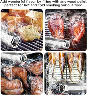 Pellet Smoker Tube, 12'' Stainless Steel BBQ Wood Pellet Tube Smoker for Cold/Hot Smoking, Portable Barbecue Smoke Ge