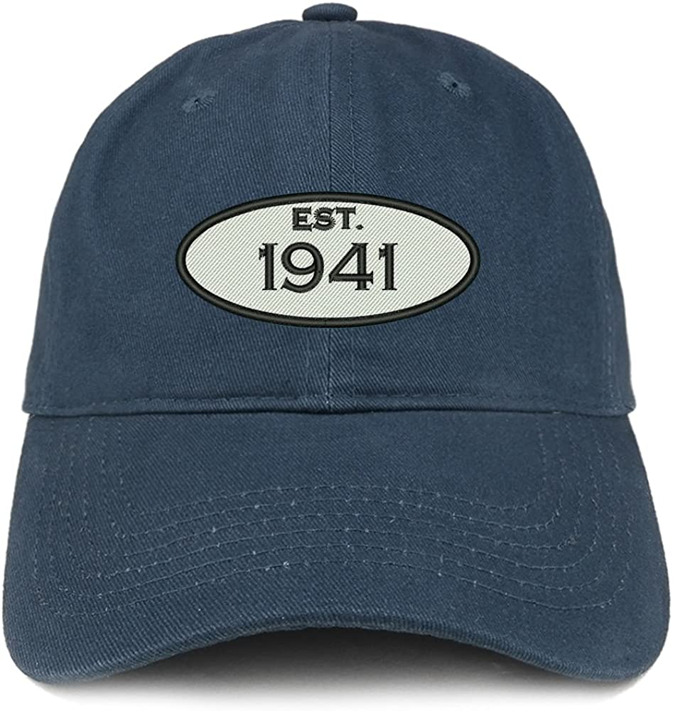 Trendy Apparel Shop Established 1941 Embroidered 80th Birthday Gift Soft Crown Cotton Cap