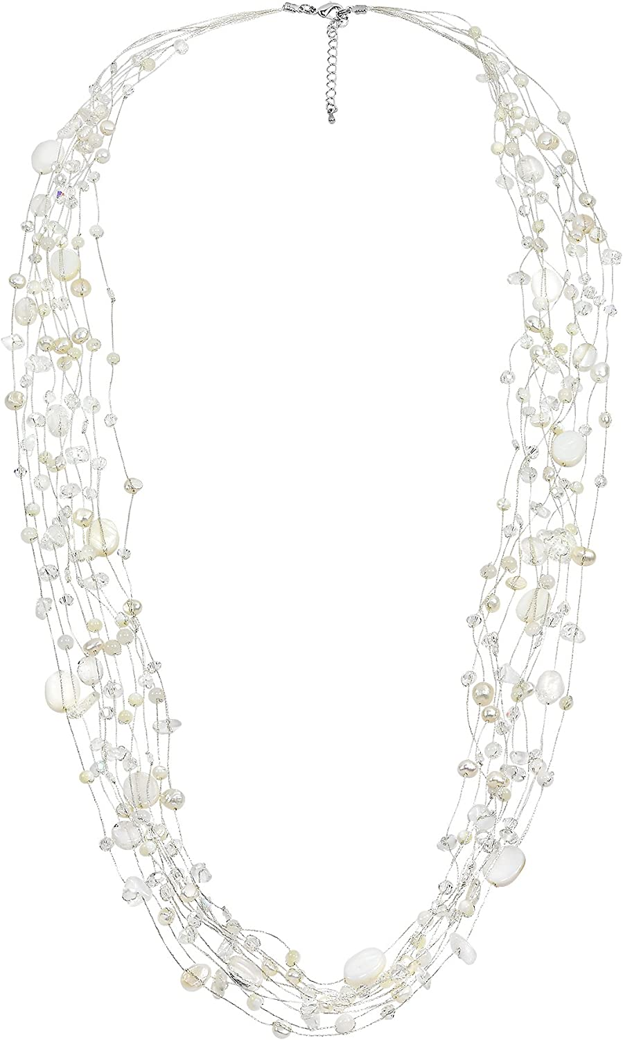 AeraVida Floating Cultured Freshwater White Pearl and Stone Beauty Multi Silk Strand Layered Necklace