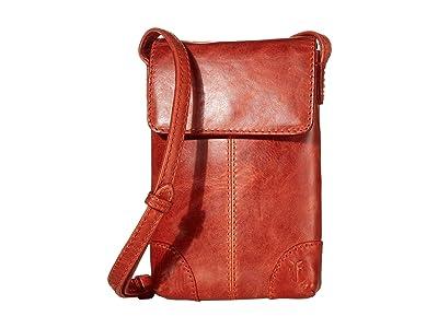 Frye Melissa Lanyard Phone Wallet Crossbody (Burnt Orange) Handbags