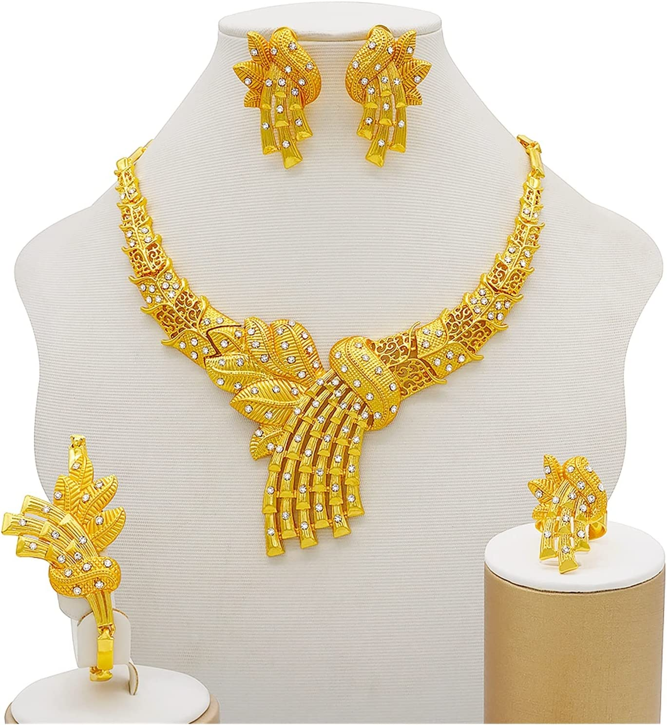 LCKJ Gold Jewelry Sets Women Necklace Earrings Dubai African Indian Bridal Accessory Flowers Jewelry Sets Necklace (Metal Color : Bj814)